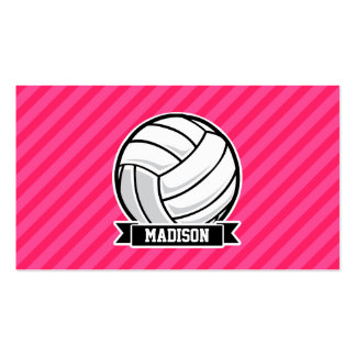 Volleyball on Neon Pink Stripes Pack Of Standard Business Cards