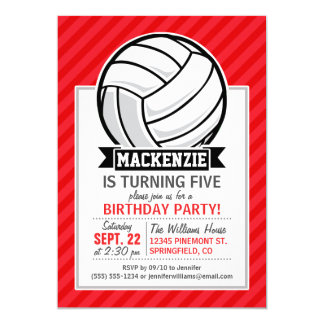 Volleyball on Red Diagonal Stripes 13 Cm X 18 Cm Invitation Card