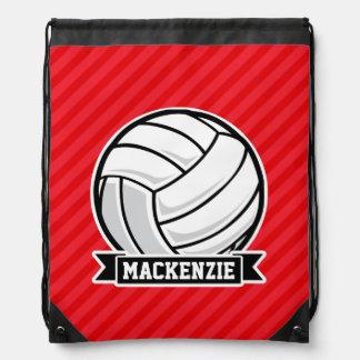 Volleyball on Red Diagonal Stripes Drawstring Bag