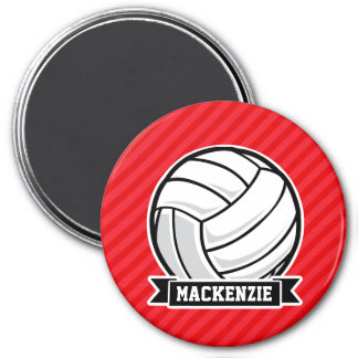 Volleyball on Red Diagonal Stripes Refrigerator Magnets