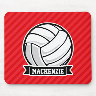 Volleyball on Red Diagonal Stripes Mousepad