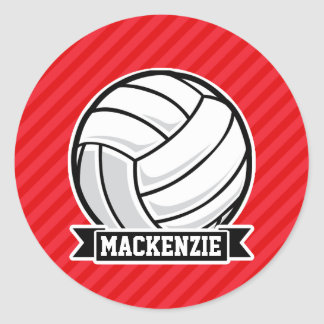 Volleyball on Red Diagonal Stripes Round Sticker