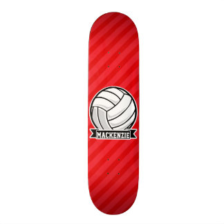 Volleyball on Red Diagonal Stripes Skateboard Deck