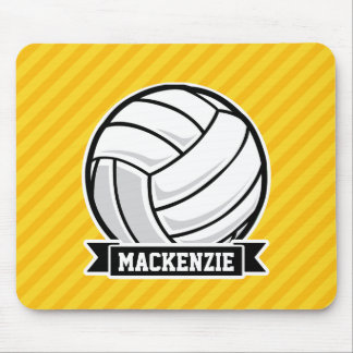Volleyball on Yellow Stripes Mousepads