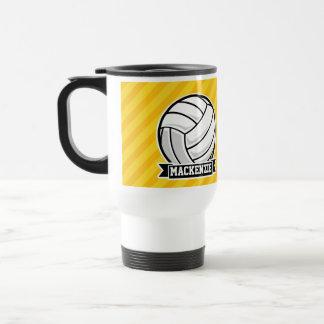 Volleyball on Yellow Stripes Travel Mug