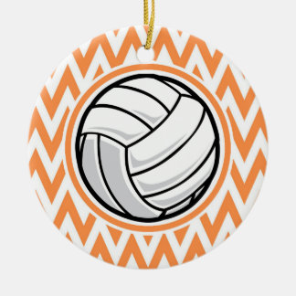 Volleyball; Orange and White Chevron Christmas Ornament
