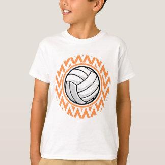 Volleyball; Orange and White Chevron T-Shirt