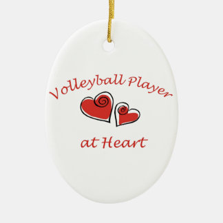 Volleyball Player at Heart Ceramic Oval Decoration