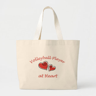 Volleyball Player at Heart Large Tote Bag