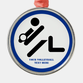 Volleyball player black, white, blue icon custom christmas ornament