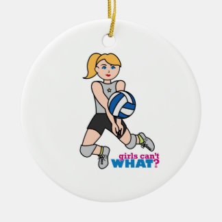 Volleyball Player - Light/Blonde Round Ceramic Decoration