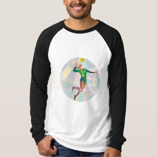 Volleyball Player Spiking Ball Jumping Low Polygon T-shirts