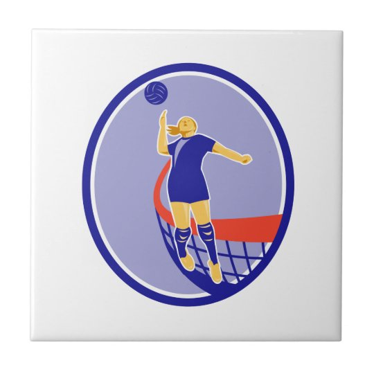 Volleyball Player Spiking Ball Oval Retro Small Square Tile