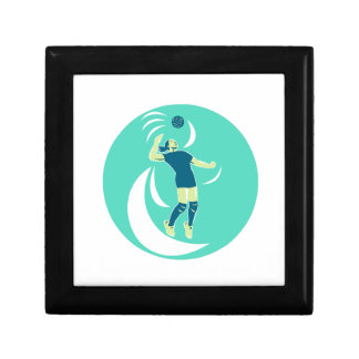 Volleyball Player Spiking High Circle Retro Small Square Gift Box