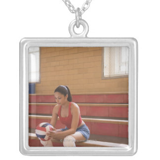 Volleyball player with volleyball silver plated necklace