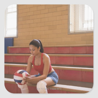 Volleyball player with volleyball square sticker