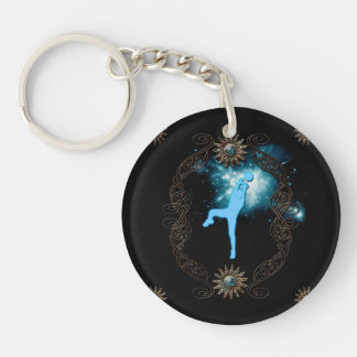 Volleyball players in blue Single-Sided round acrylic keychain