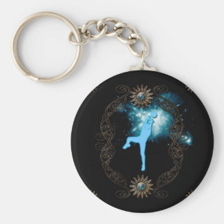 Volleyball players in blue basic round button keychain