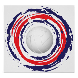 Volleyball Red Blue And White 1 Poster