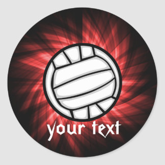 Volleyball; Red Classic Round Sticker
