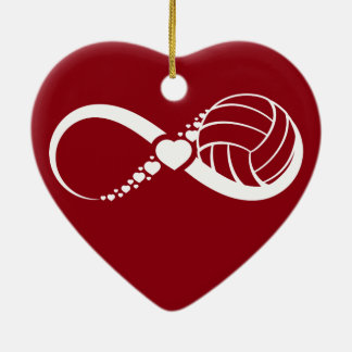 Volleyball red heart ornament