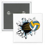 volleyball ripping through blue and gold 15 cm square badge