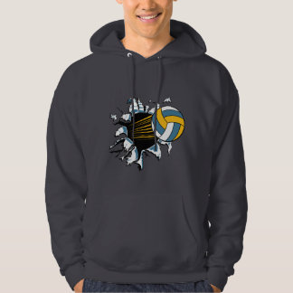 volleyball ripping through blue and gold hoodie