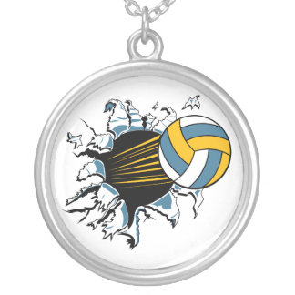 volleyball ripping through blue and gold round pendant necklace