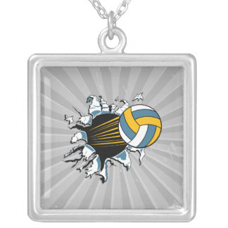 volleyball ripping through blue and gold necklaces
