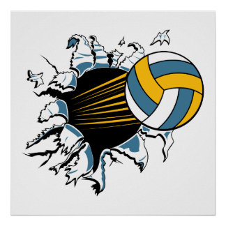 volleyball ripping through blue and gold poster