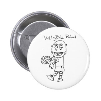 Volleyball Robot 6 Cm Round Badge