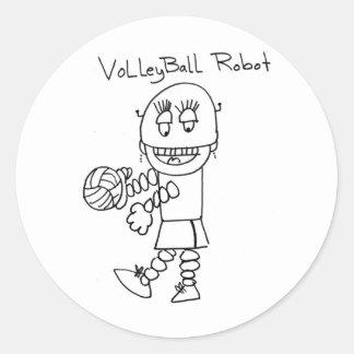 Volleyball Robot Round Sticker
