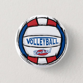 Volleyball Rocks Ball by Mudge Studios 3 Cm Round Badge