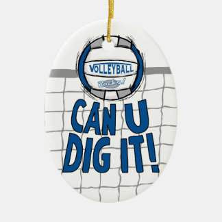 Volleyball Rocks Blue and Silver Christmas Ornament