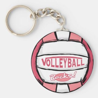 Volleyball Rocks Pink Basic Round Button Key Ring