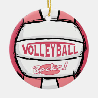 Volleyball Rocks Pink Round Ceramic Decoration