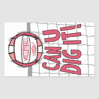 Volleyball Rocks Pink Stickers