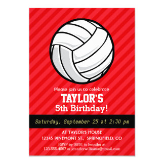 Volleyball; Scarlet Red Stripes Card