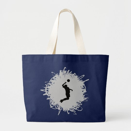 Volleyball Scribble Style (Male) Large Tote Bag