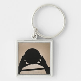 Volleyball Silhouette 2 Silver-Colored Square Key Ring