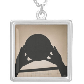 Volleyball Silhouette 2 Silver Plated Necklace