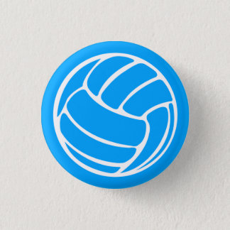 Volleyball Silhouette Button Blue