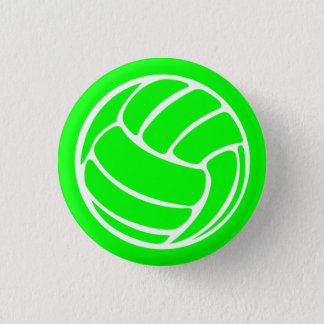 Volleyball Silhouette Button Green