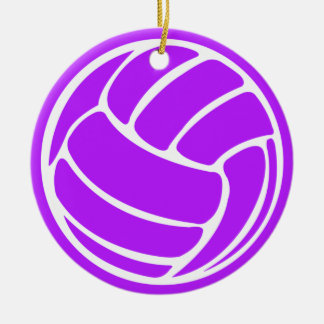 Volleyball Silhouette Ornament Purple