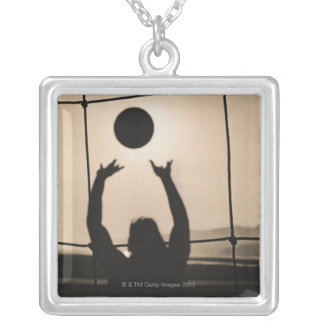 Volleyball Silhouette Silver Plated Necklace