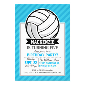 Volleyball; Sky Blue Stripes Card