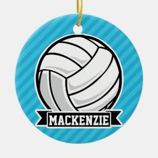 Volleyball; Sky Blue Stripes Christmas Ornament