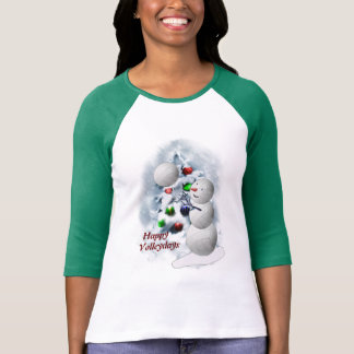 Volleyball Snowman Christmas T-Shirt