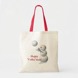 Volleyball Snowman Christmas Tote Bag