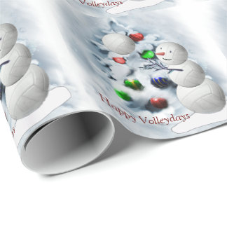 Volleyball Snowman Christmas Wrapping Paper